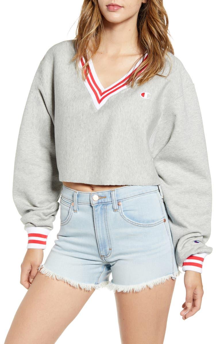 CHAMPION Yarn Dyed Stripe Trim Crop Sweatshirt, Main, color, 020