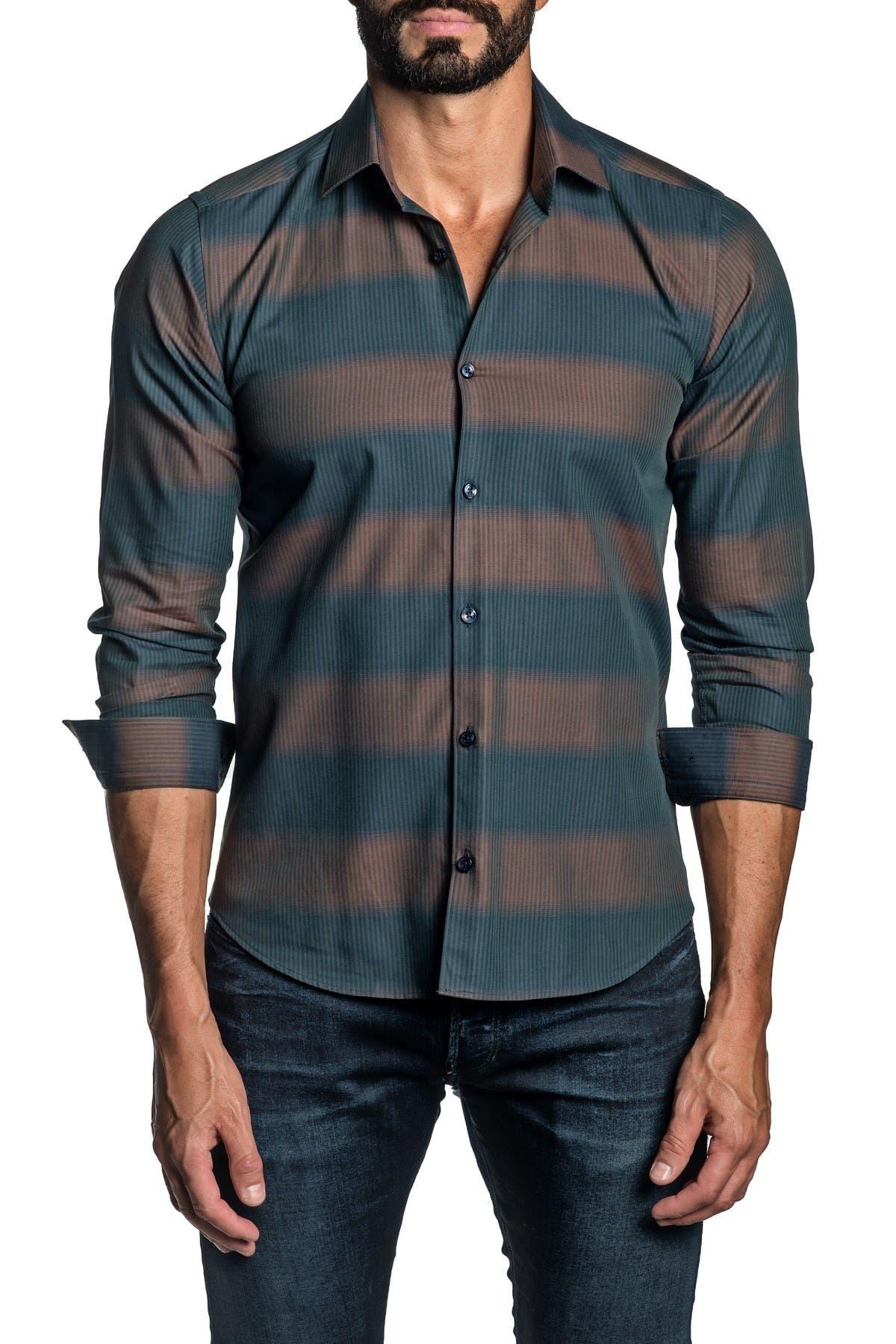 Jared Lang Cottons TRIM FIT BROWN STRIPE DRESS SHIRT