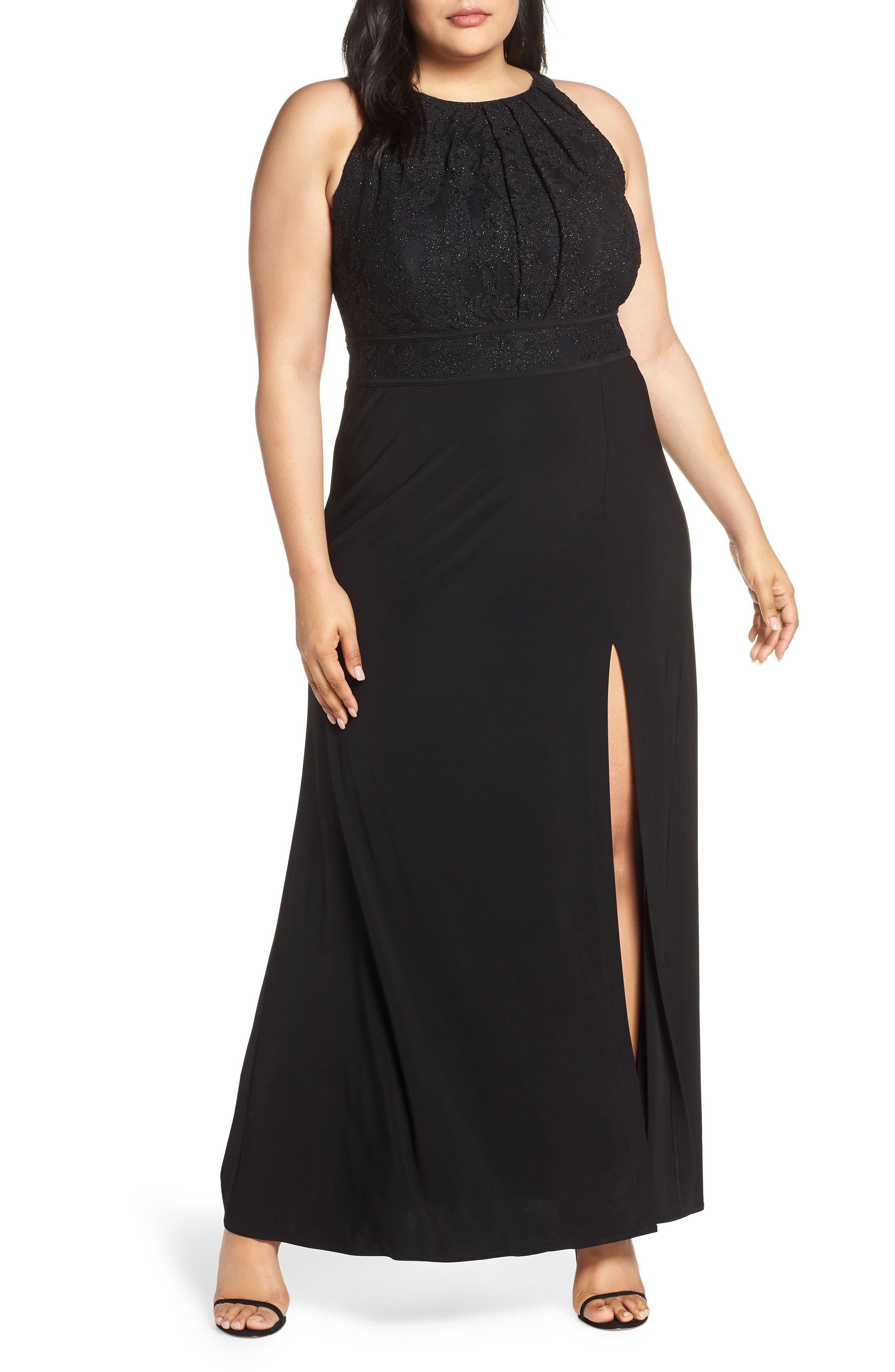Plus Size Morgan & Co. Pleat Lace Bodice Evening Dress, Black
