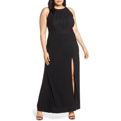Plus Size Morgan & Co. Pleat Lace Bodice Evening Dress, Black