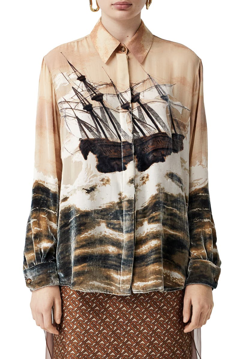 BURBERRY Print Velvet & Chiffon Shirt, Main, color, BRONZE