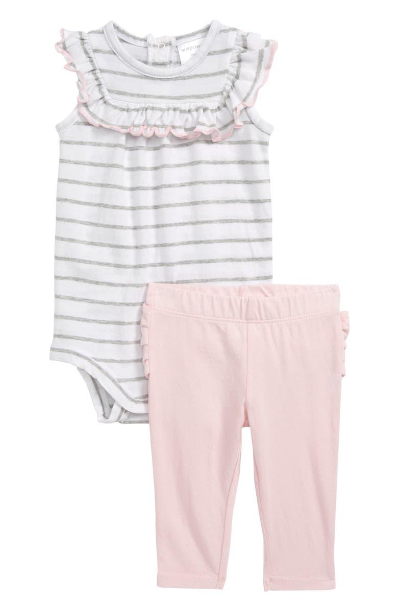 NORDSTROM BABY Bow Bodysuit & Leggings Set, Main, color, WHITE- GREY BRETON STRIPE