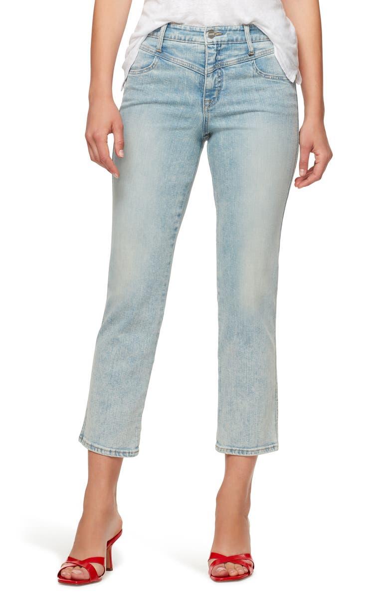 SANCTUARY Modern Standard High Waist Crop Straight Leg Jeans, Main, color, EGRET