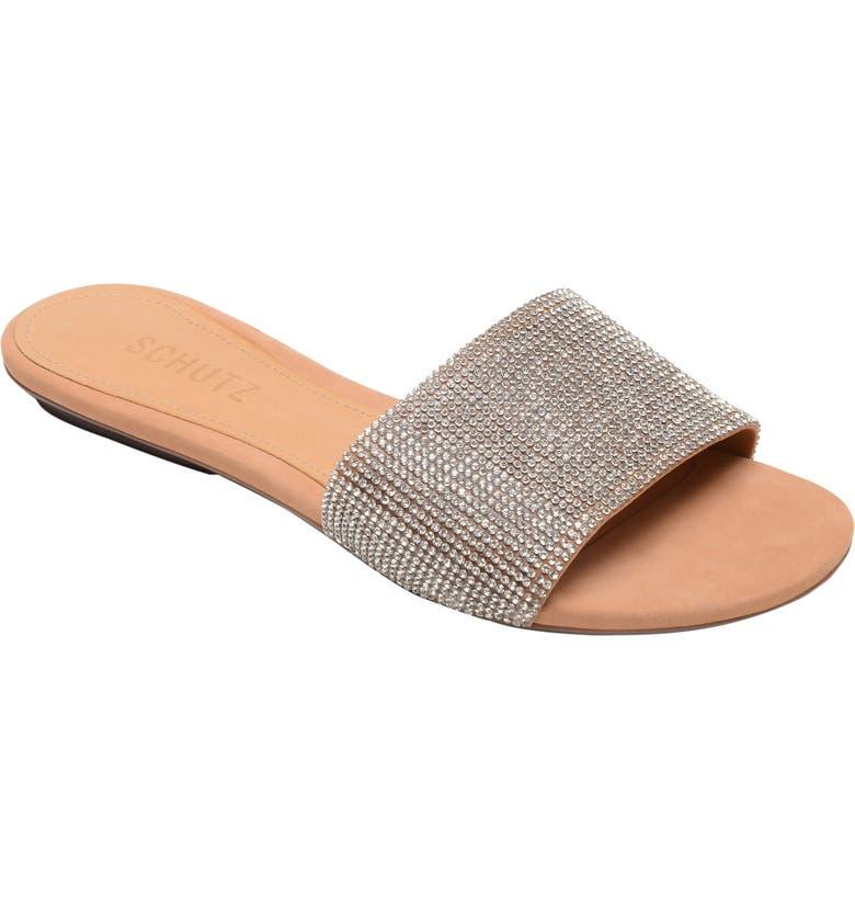 SCHUTZ Queren Embellished Slide Sandal, Main, color, CRISTAL