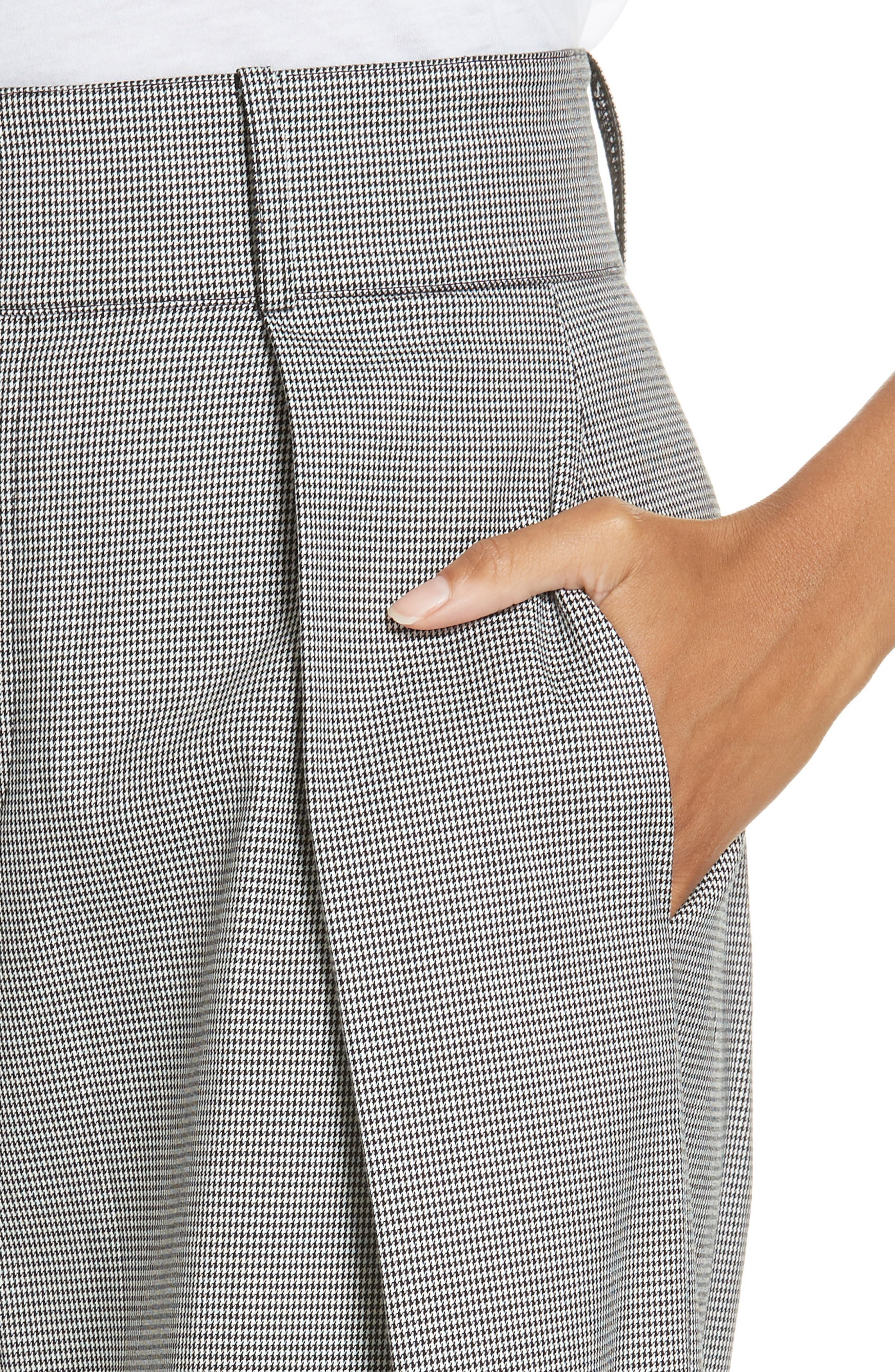 ,                             Houndstooth Wide Leg Trousers,                             Alternate thumbnail 5, color,                             BLACK MULTI