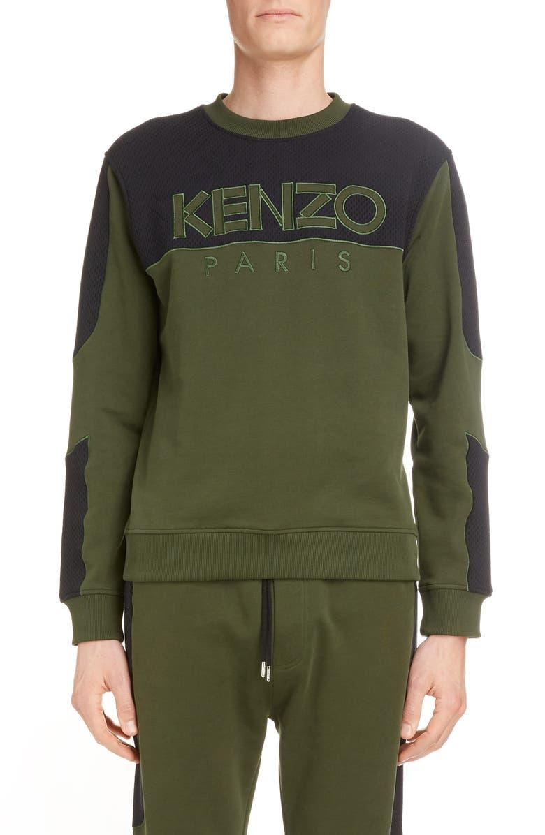 KENZO Logo Mesh Detail Cotton Sweatshirt, Main, color, DARK KHAKI