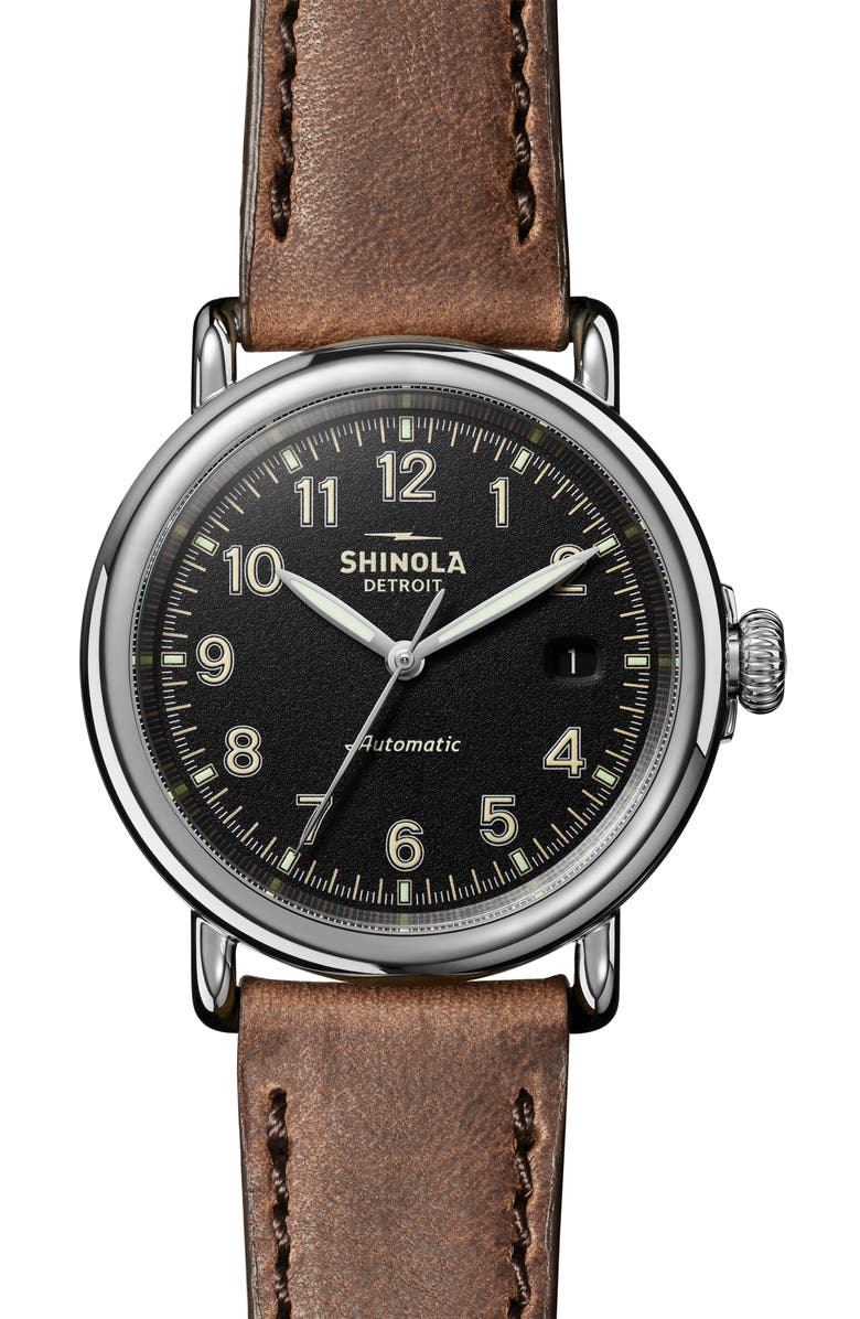 SHINOLA Runwell Automatic Leather Strap Watch, 40mm, Main, color, TAN/ BLACK/ SILVER