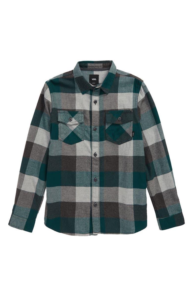 VANS Flannel Shirt, Main, color, TREKKING GREEN/ GREY HEATHER