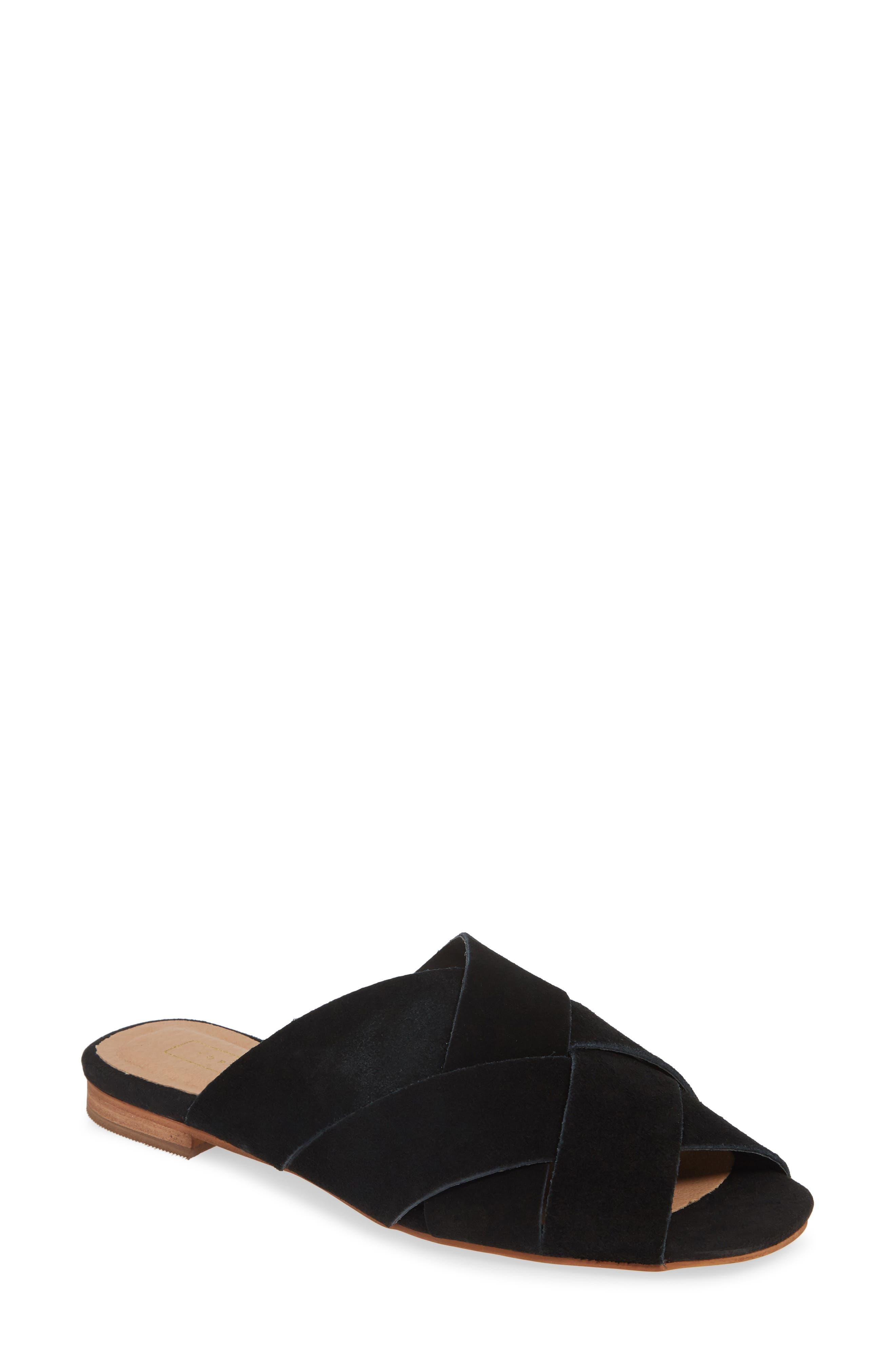 Hop Cross Slide Sandals, Main, color, BLACK