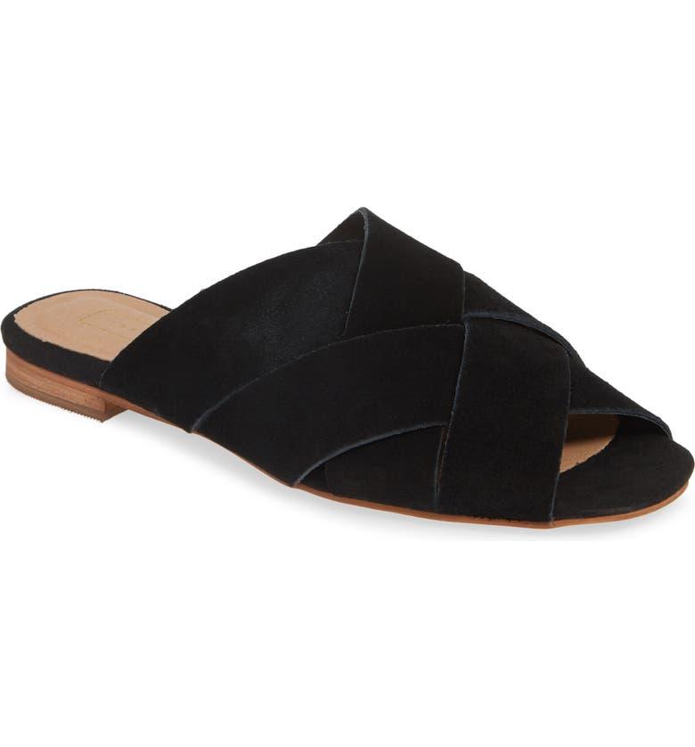 TOPSHOP Hop Cross Slide Sandals, Main, color, BLACK