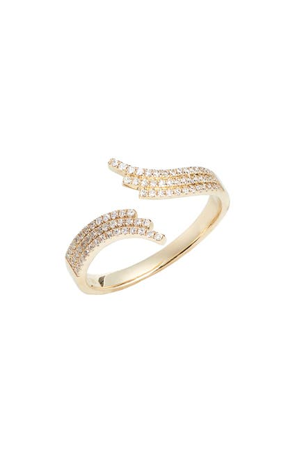 Image of EF Collection Willow 14K Yellow Gold Pave Diamond Bypass Ring - Size 6 - 0.21 ctw