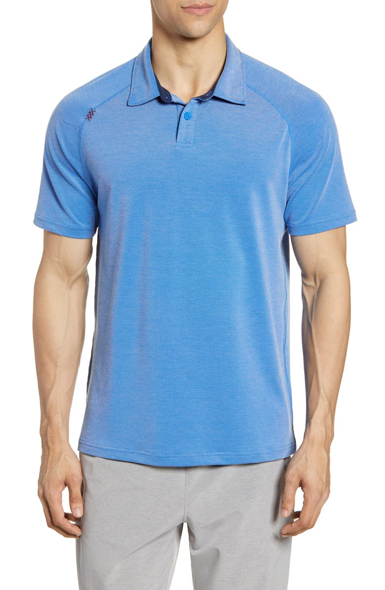 RHONE Delta Raglan Piqué Polo, Main, color, TRACK BLUE