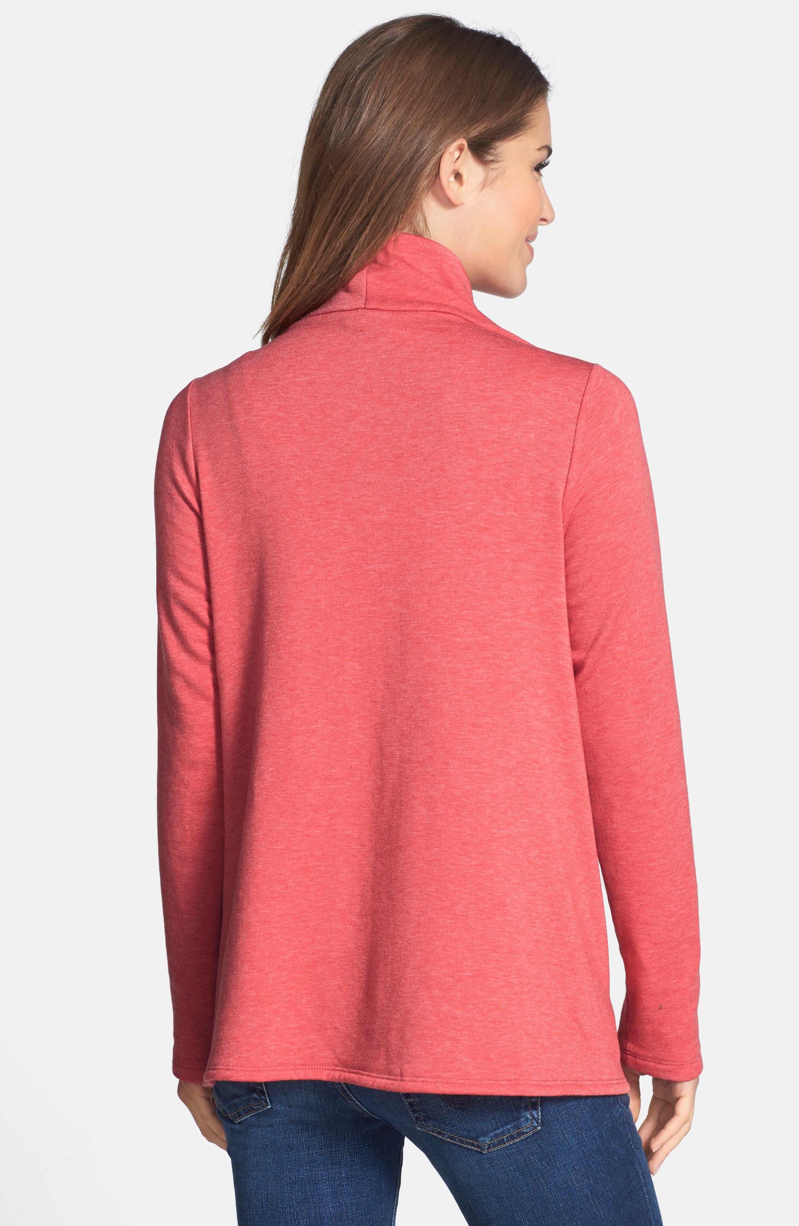 ,                             One-Button Fleece Wrap Cardigan,                             Alternate thumbnail 201, color,                             658
