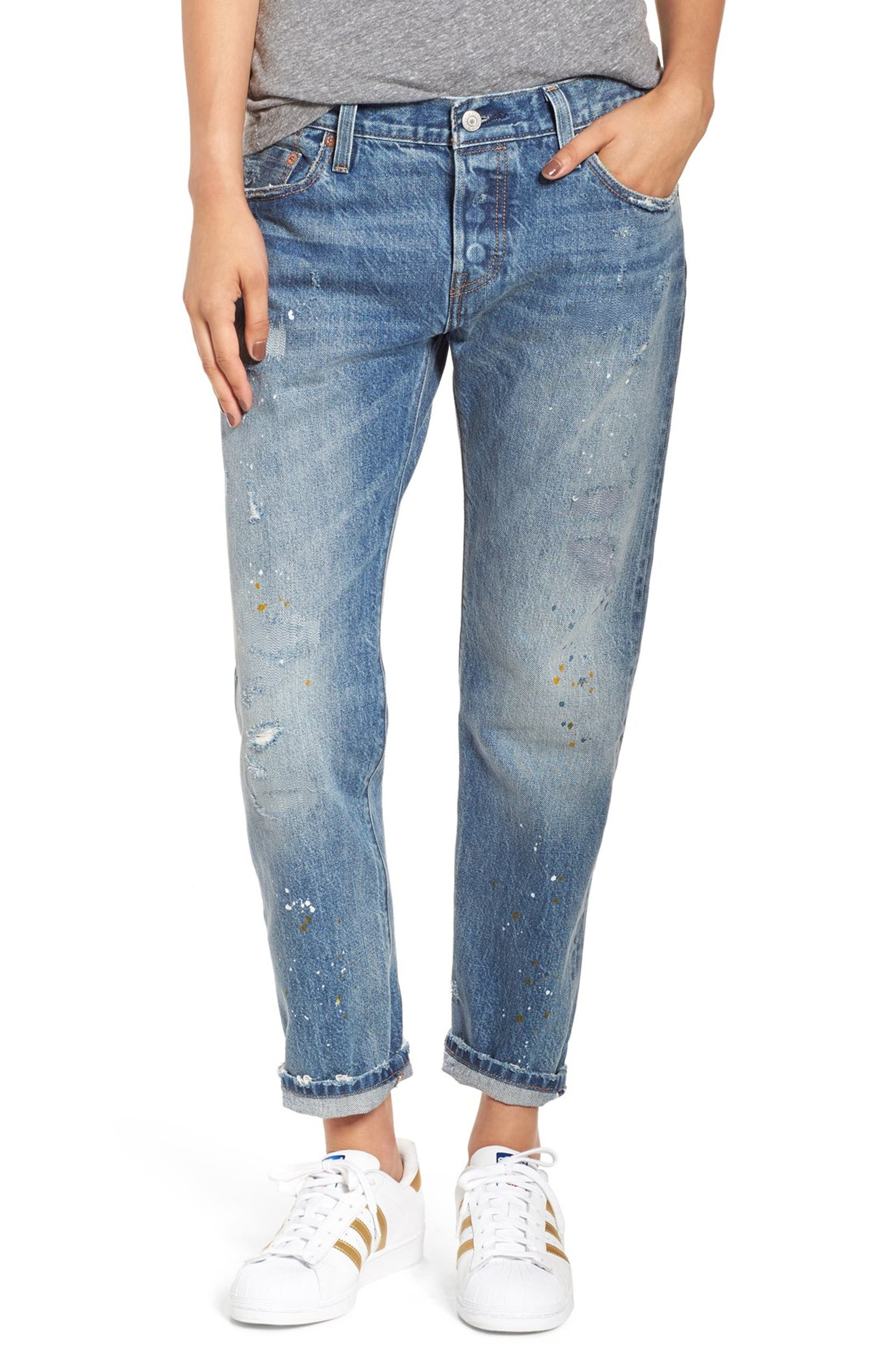 29b14af1 Levi's® '501® CT' Distressed Boyfriend Jeans (Darn and Dusted) | Nordstrom
