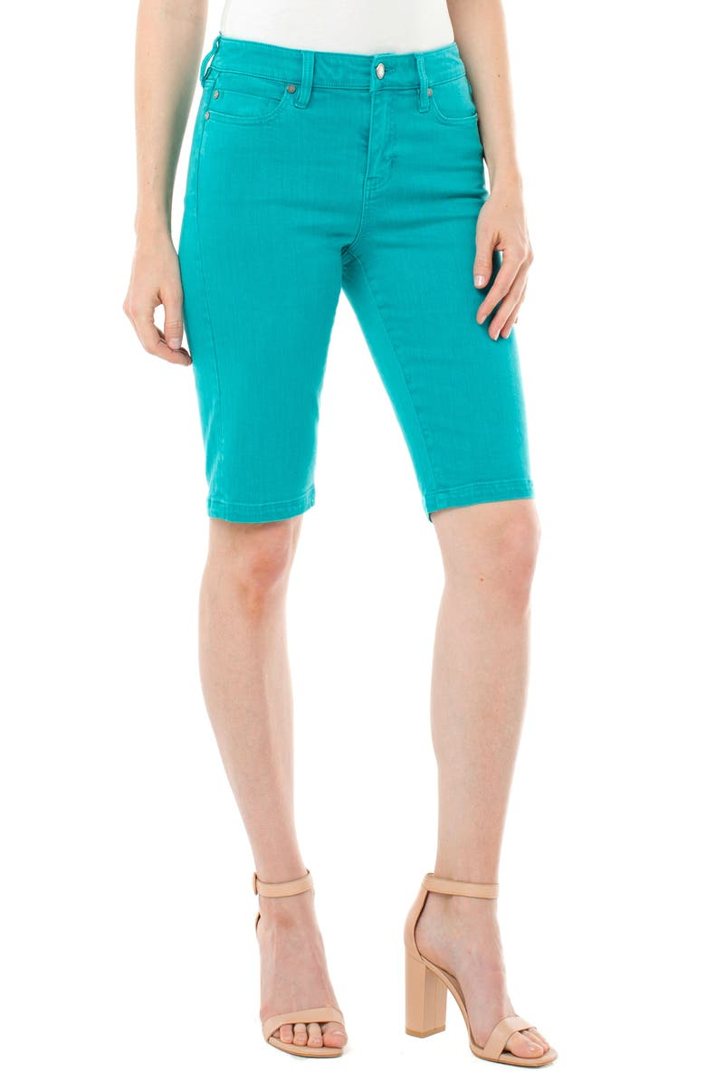LIVERPOOL Cruiser Denim Shorts, Main, color, TURQUOISE