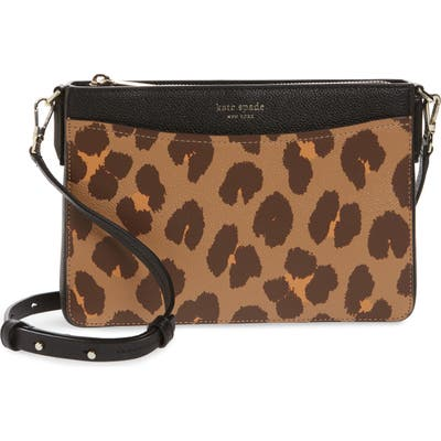 Kate Spade New York Margaux Leopard Medium Convertible Crossbody Bag - Brown