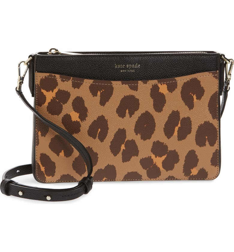 KATE SPADE NEW YORK margaux leopard medium convertible crossbody bag, Main, color, NATURAL MULTI