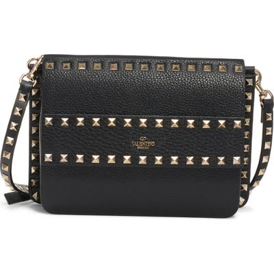 Valentino Garavani Small Rockstud Calfskin Leather Shoulder Bag - Black