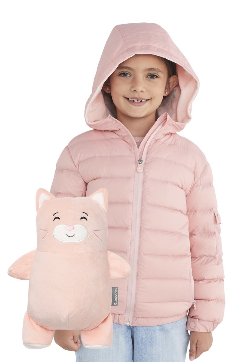 CUBCOATS Kali 2-in-1 Stuffed Animal & Hooded Down Jacket, Main, color, BLUSH MARL