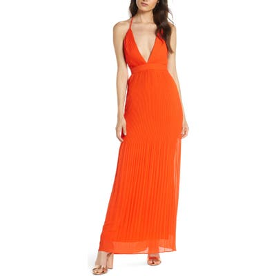 Fame And Partners The Caspian Plunge Neck Plisse Chiffon Gown, Orange