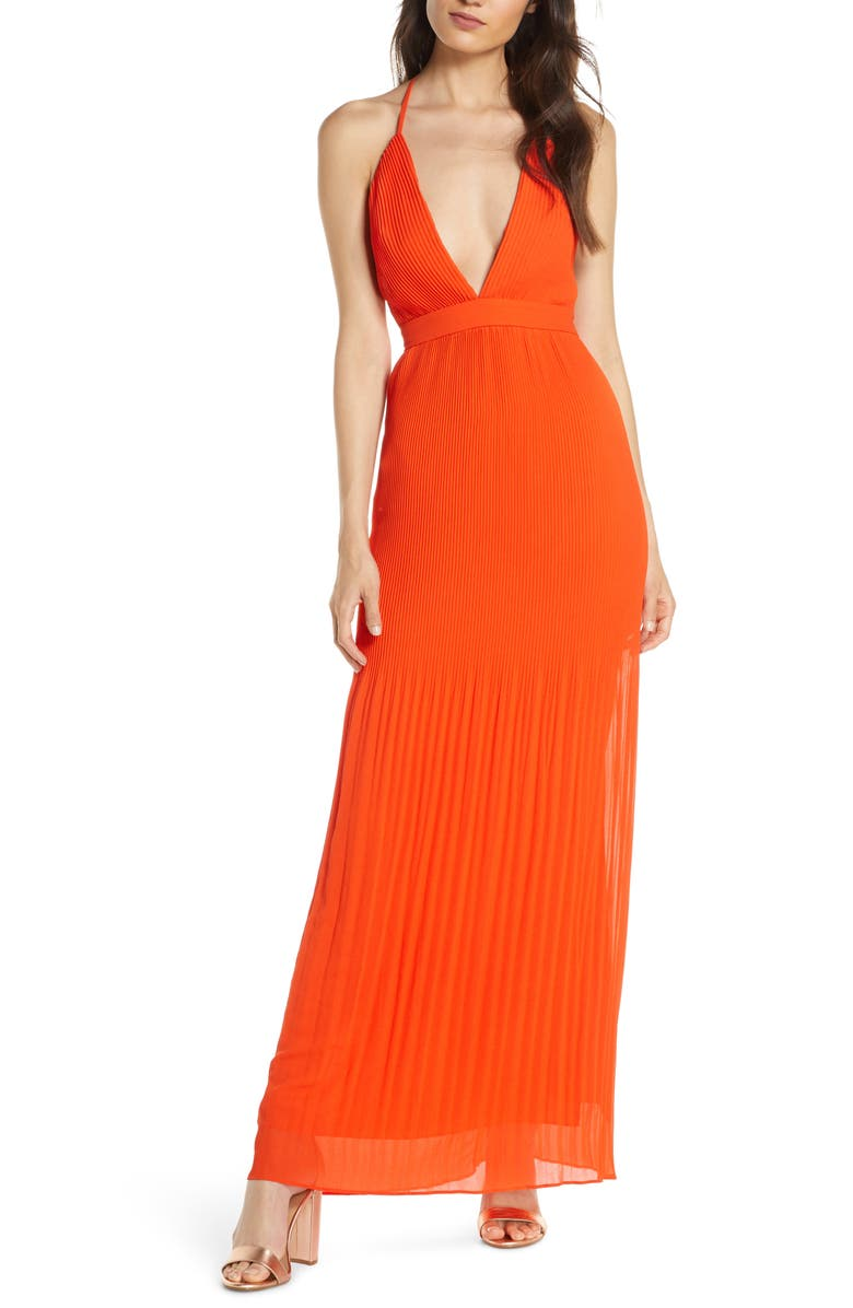 FAME AND PARTNERS The Caspian Plunge Neck Plissé Chiffon Gown, Main, color, TANGERINE