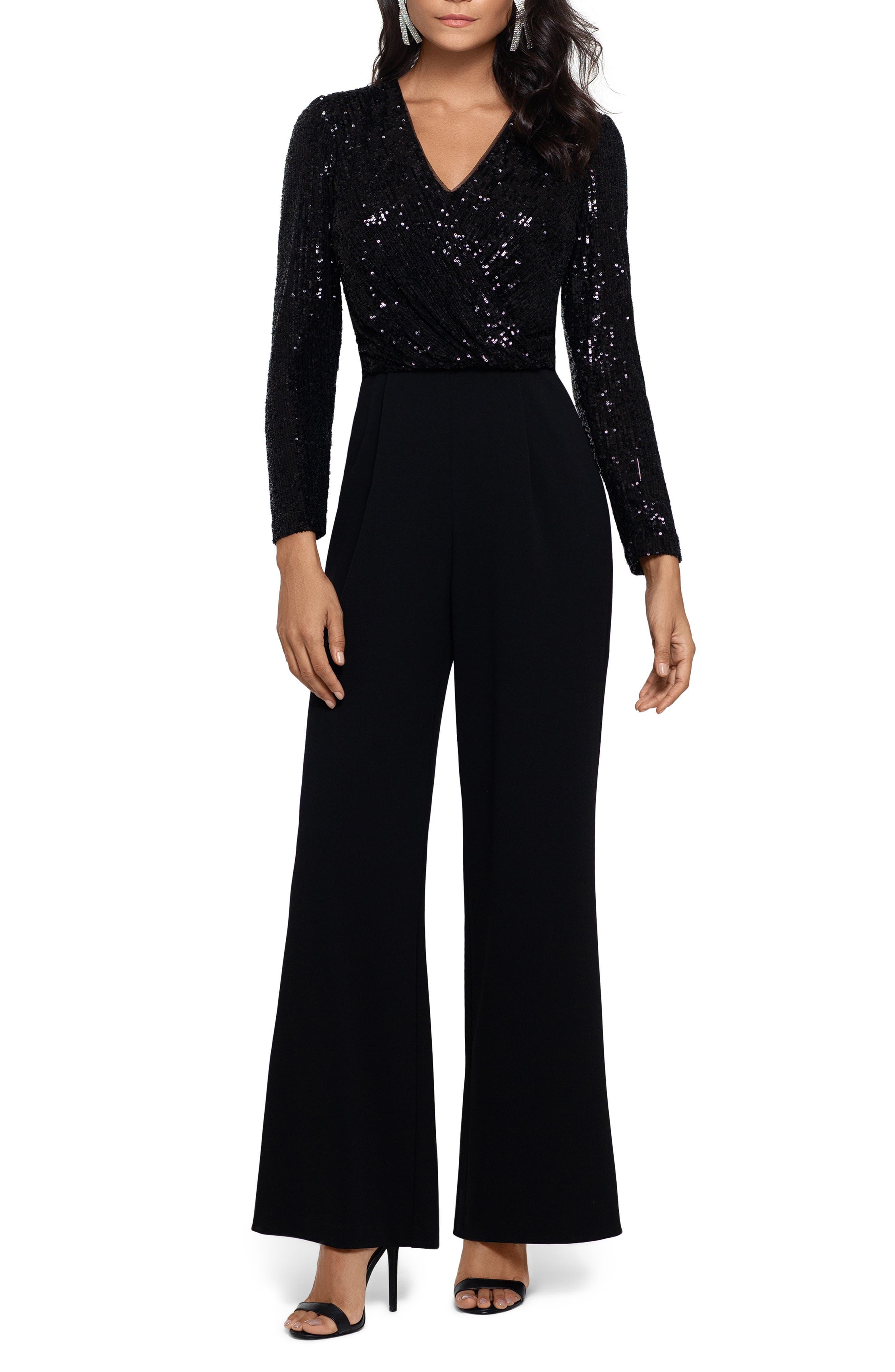 70s Prom, Formal, Evening, Party Dresses Womens Xscape Sequin Long Sleeve Crepe Jumpsuit Size 16 - Black $258.00 AT vintagedancer.com