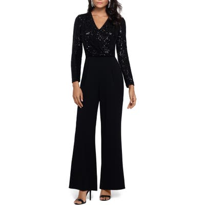 Xscape Sequin Long Sleeve Crepe Jumpsuit, Black