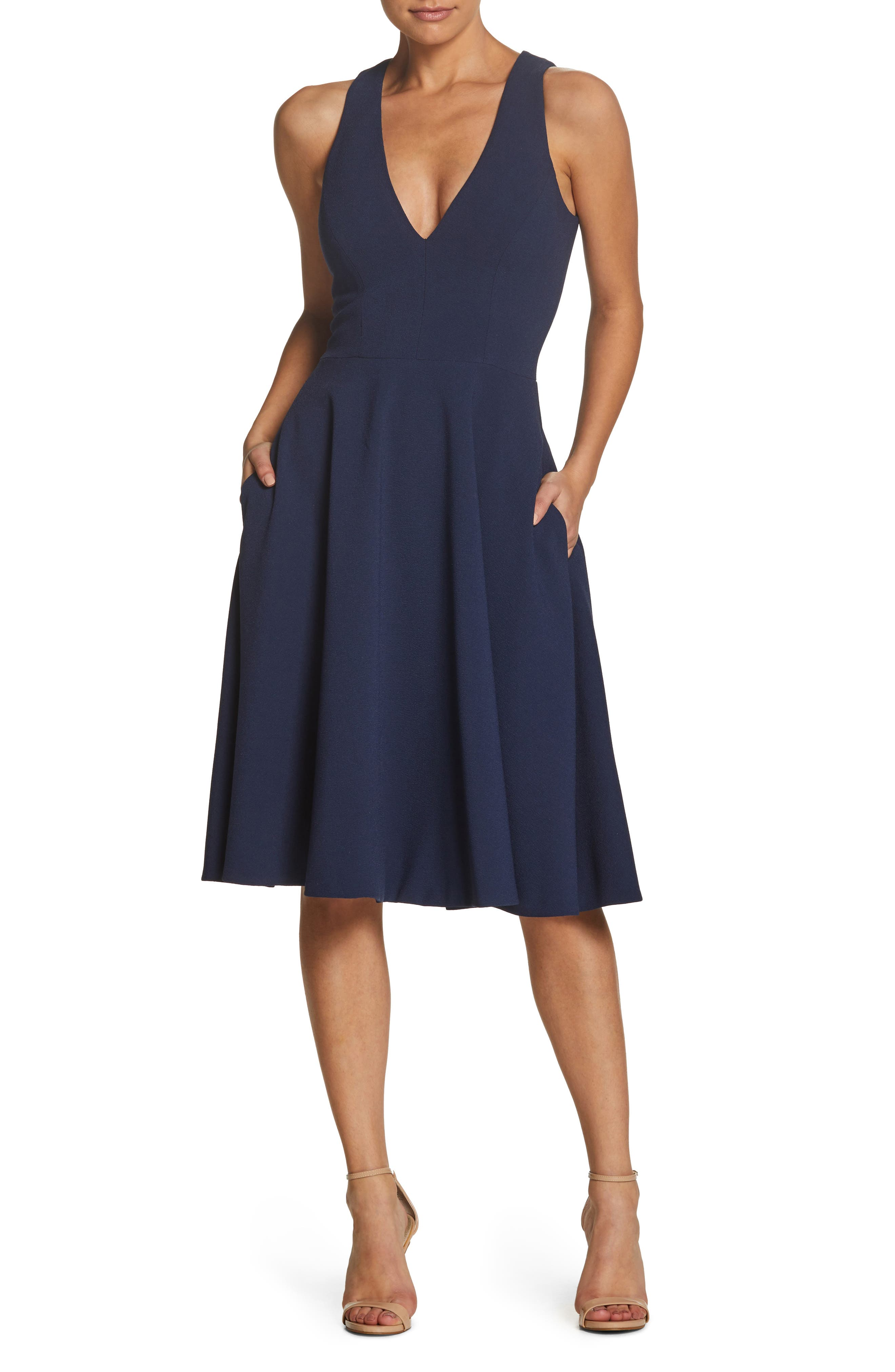 Dress The Population Catalina Fit & Flare Dress, Blue
