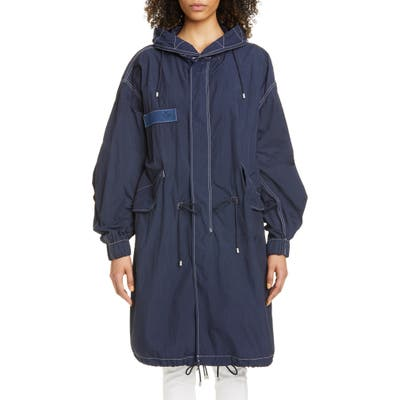 Mr & Mrs Italy Oversize Nylon Crepe Hooded Parka, Blue