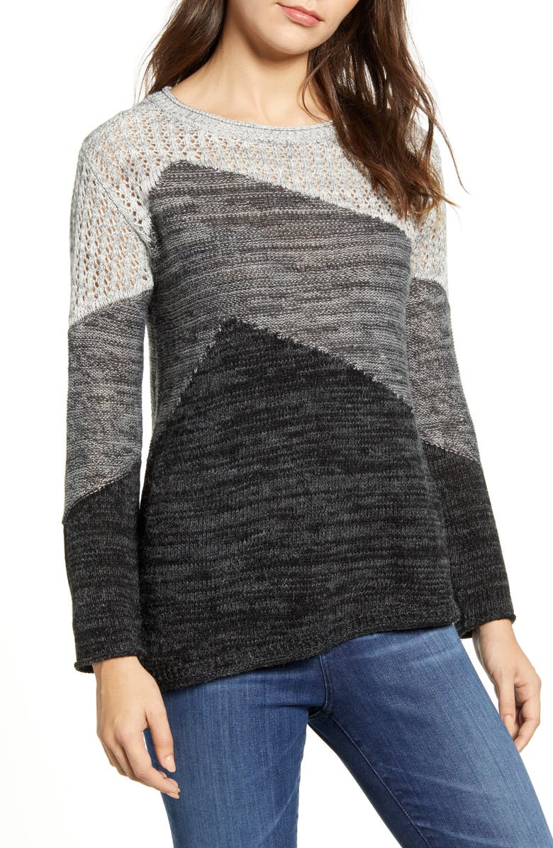 WIT & WISDOM Asymmetrical Colorblock Sweater, Main, color, CHARCOAL MULTI