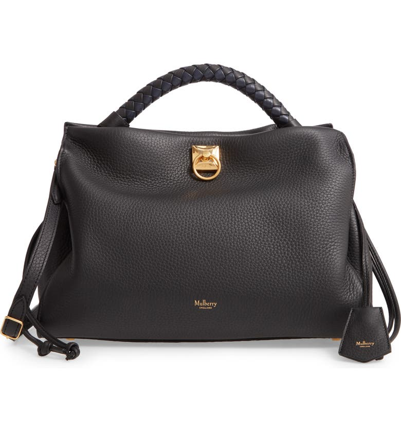 MULBERRY Iris Leather Top Handle Bag, Main, color, BLACK