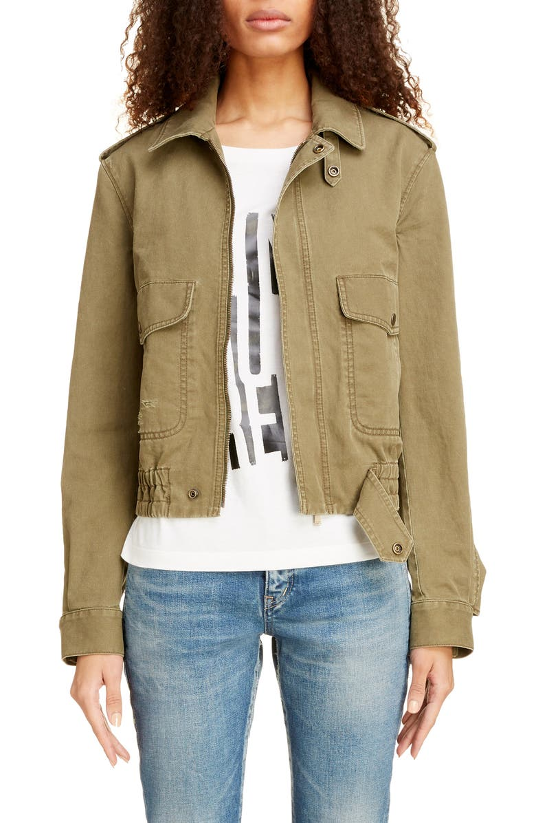 SAINT LAURENT Cotton Blend Gabardine Aviator Jacket, Main, color, KHAKI STONEWASH