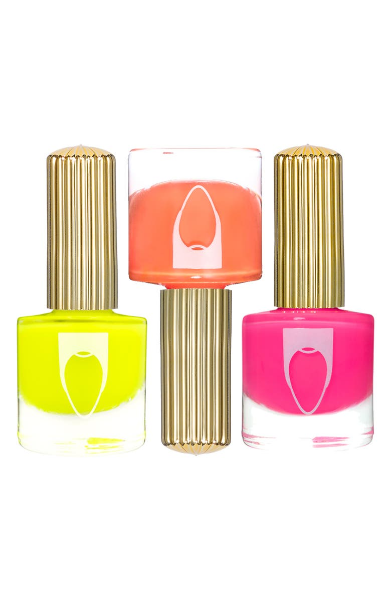 FLOSS GLOSS Neon Drip Trip Set of 3 Nail Lacquers, Main, color, MALIBOOB/ HILITE/ BIKINI CORAL