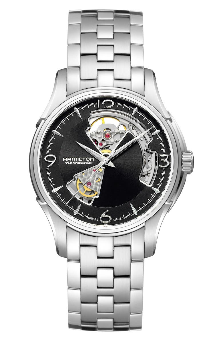 HAMILTON Jazzmaster Open Heart Automatic Bracelet Watch, 40mm, Main, color, SILVER/ BLACK/ SILVER