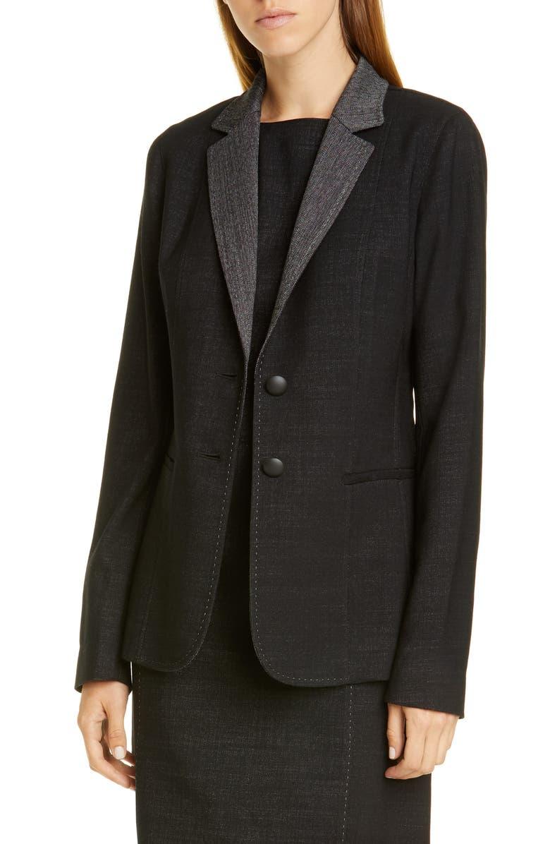 LAFAYETTE 148 NEW YORK Rozella Jacket, Main, color, BLACK MULTI