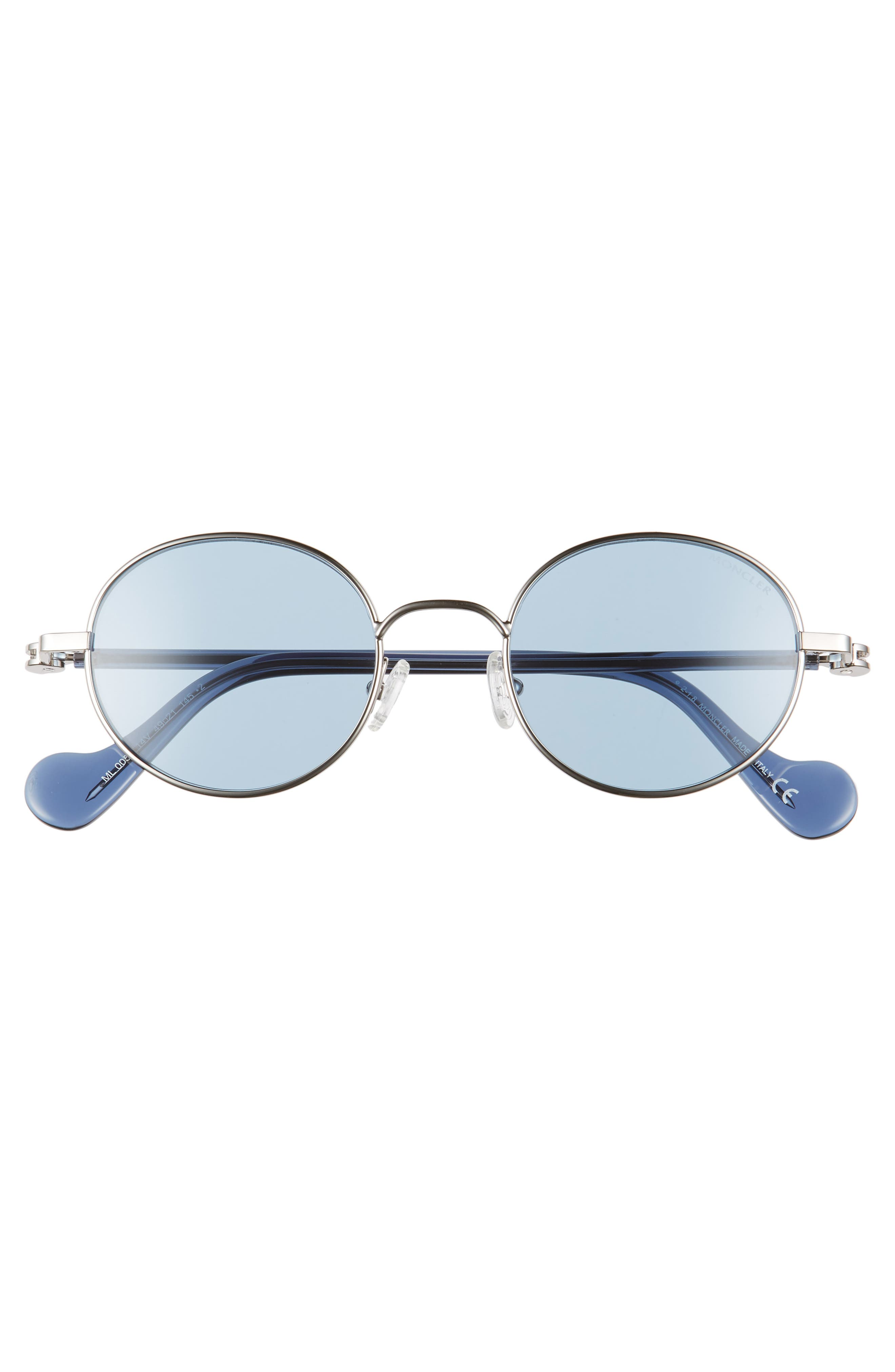 ,                             49mm Round Metal Sunglasses,                             Alternate thumbnail 3, color,                             SHINY LIGHT RUTHENIUM/ BLUE