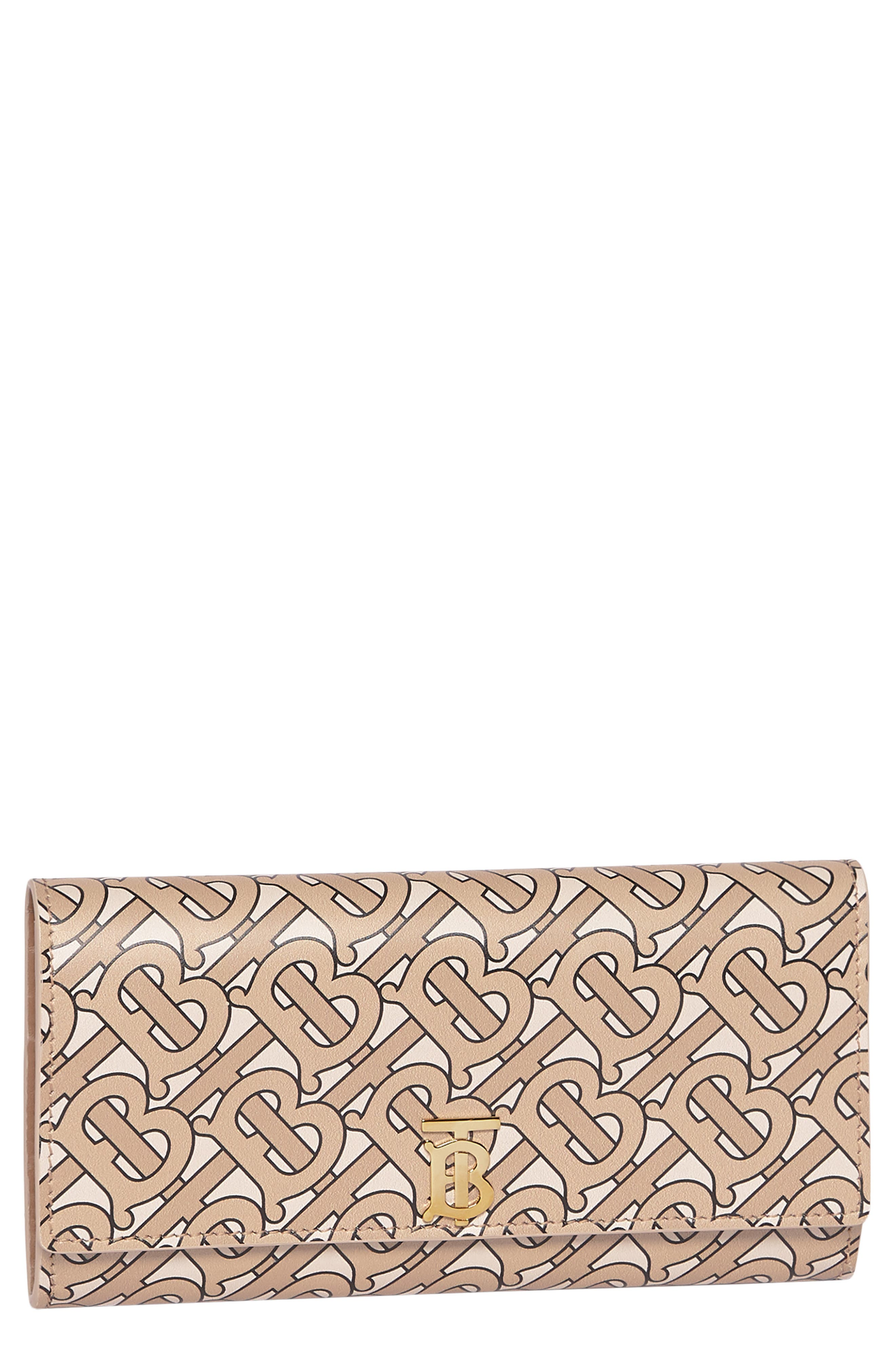 Halton Logo Print Calfskin Leather Continental Wallet, Main, color, BEIGE