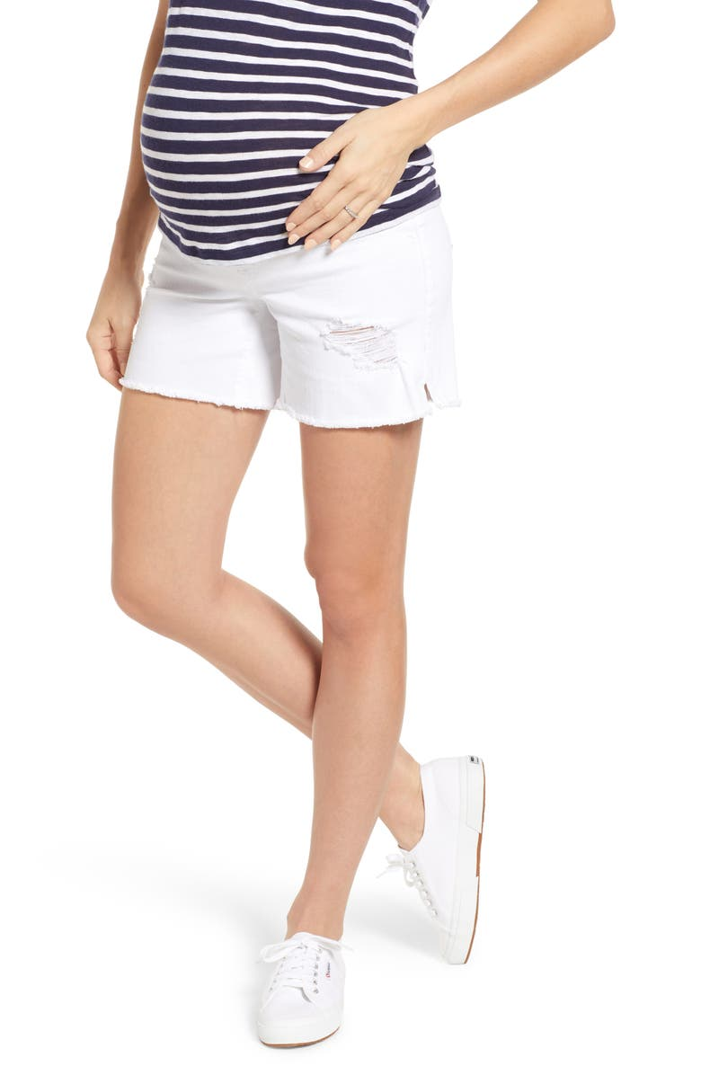 1822 DENIM Destructed Denim Maternity Shorts, Main, color, WHITE
