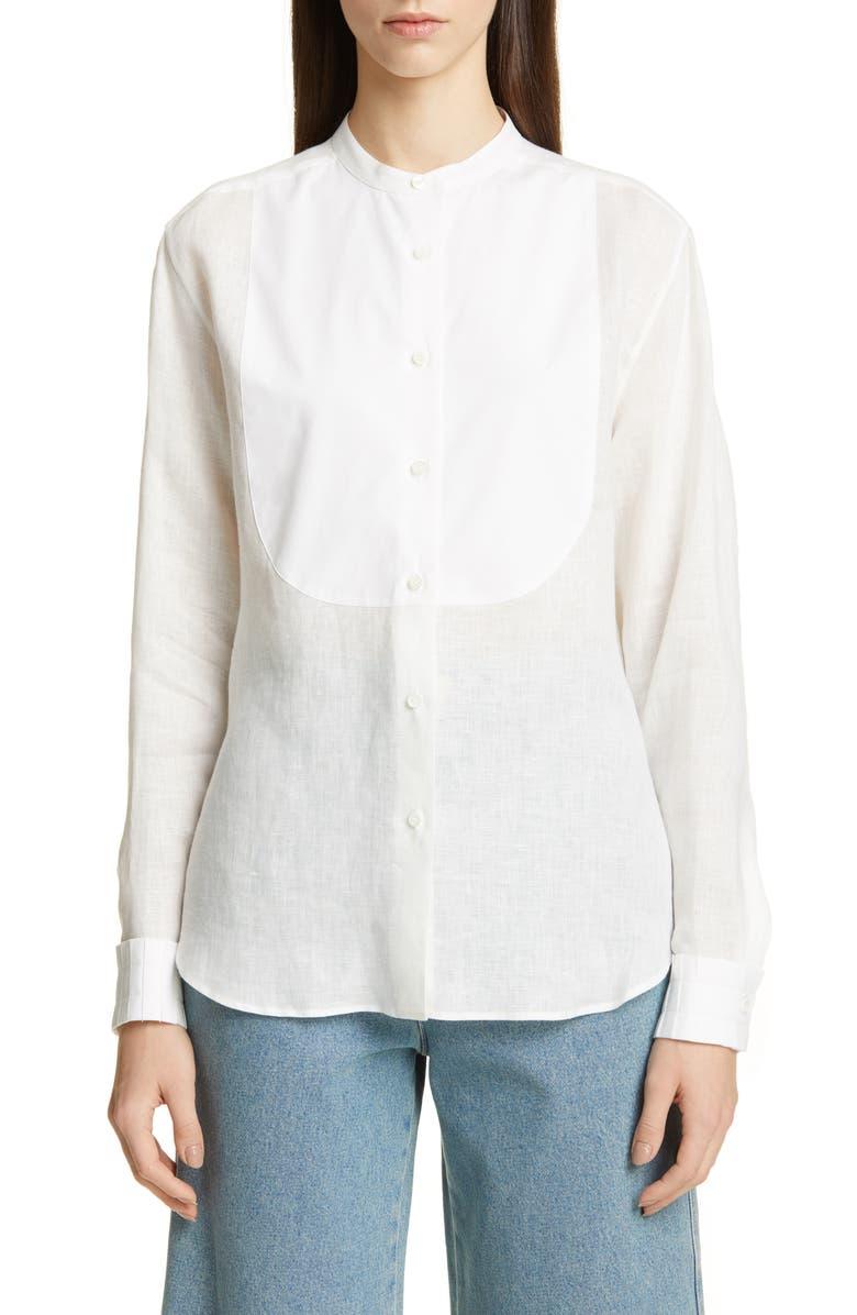 LOEWE Contrast Bib Linen Shirt, Main, color, 100