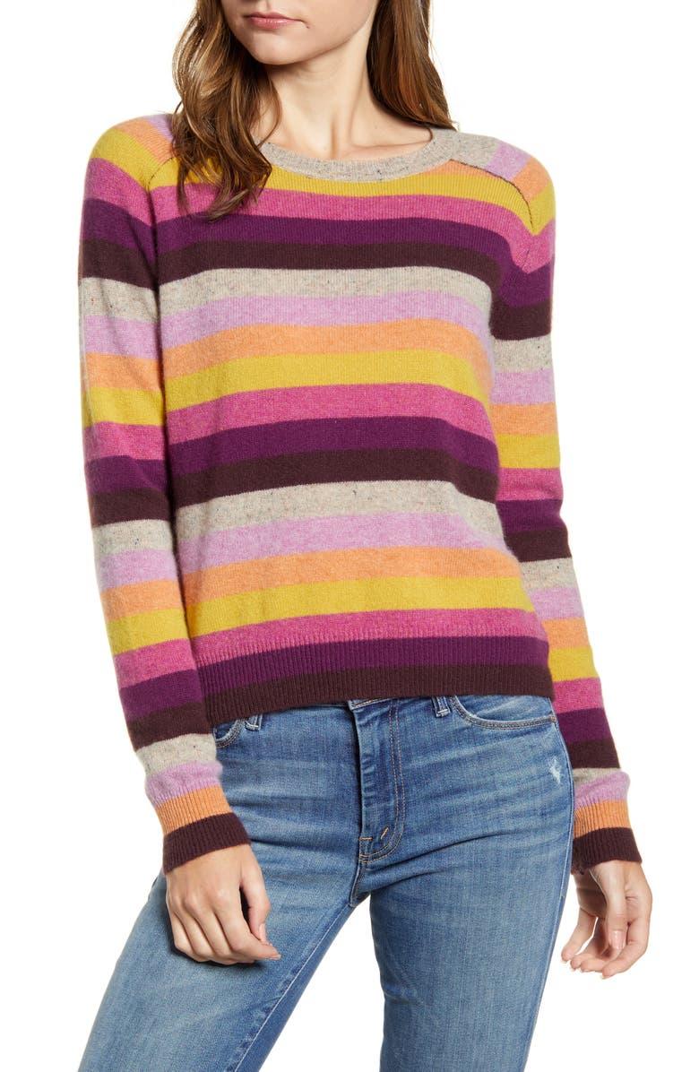 VELVET BY GRAHAM & SPENCER Cashmere Multi Stripe Sweater, Main, color, 650