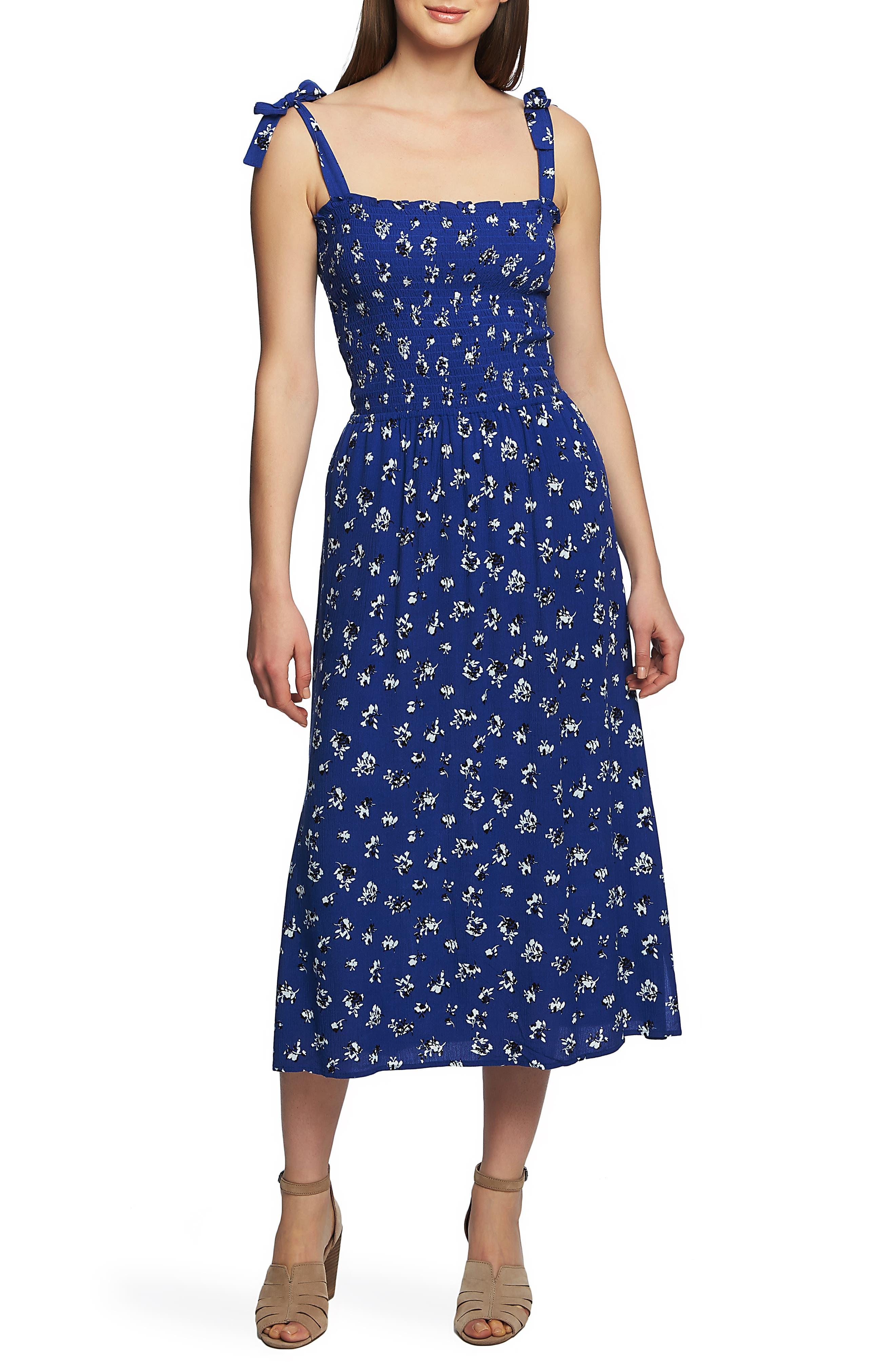 1.state Floral Print Tie Shoulder Midi Sundress, Blue