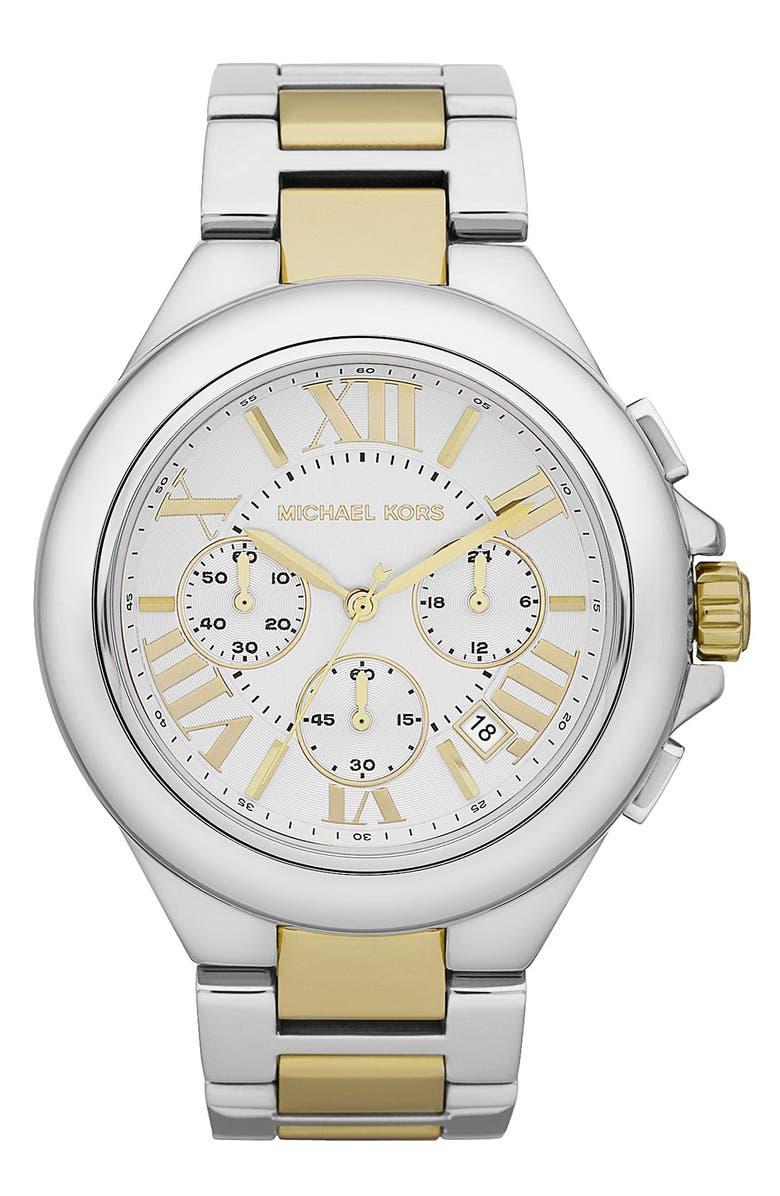 MICHAEL MICHAEL KORS Michael Kors 'Camille' Chronograph Bracelet Watch, Main, color, 040