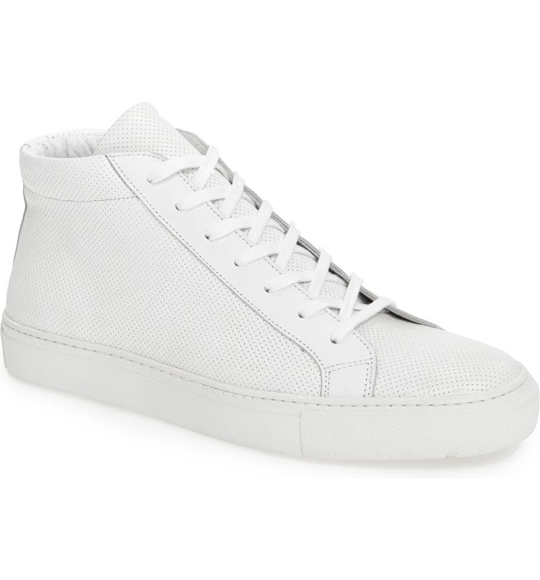 SUPPLY LAB Deacon Mid Sneaker, Main, color, WHITE PERFORATED LEATHER