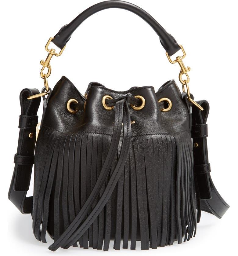 SAINT LAURENT Fringe Calfskin Bucket Bag, Main, color, 001
