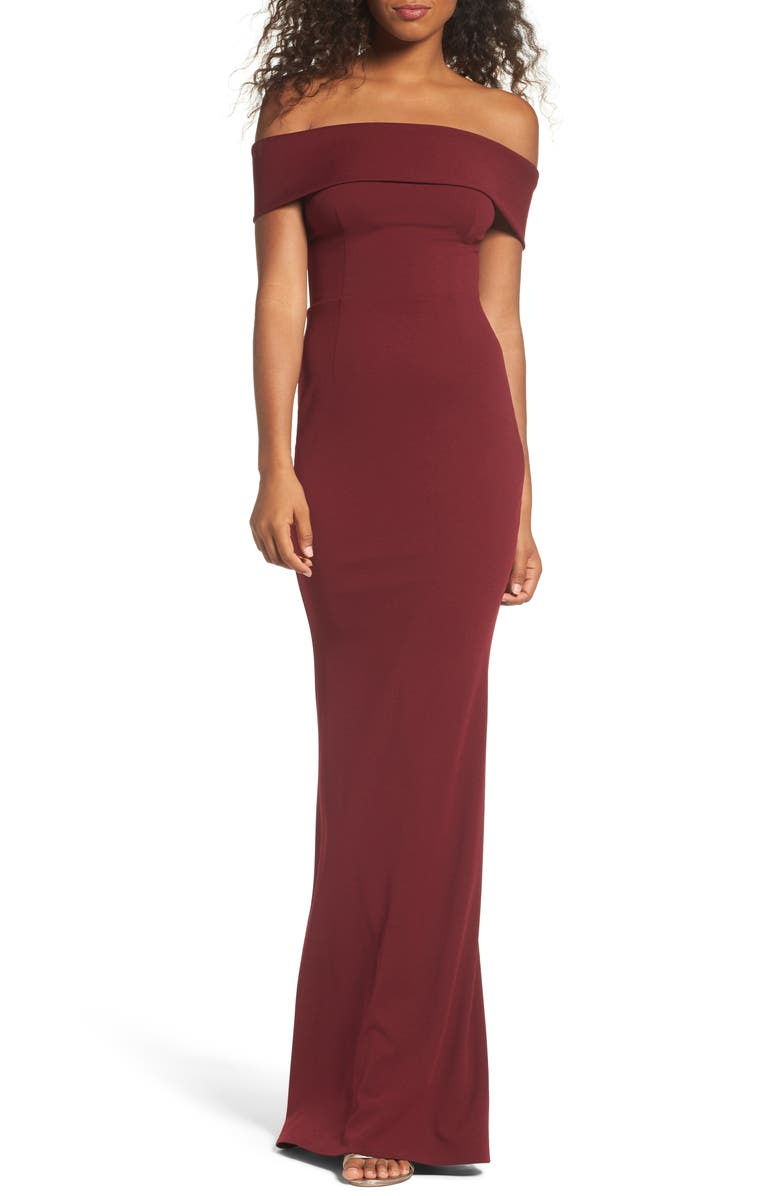 KATIE MAY Legacy Crepe Body-Con Gown, Main, color, BORDEAUXDNU