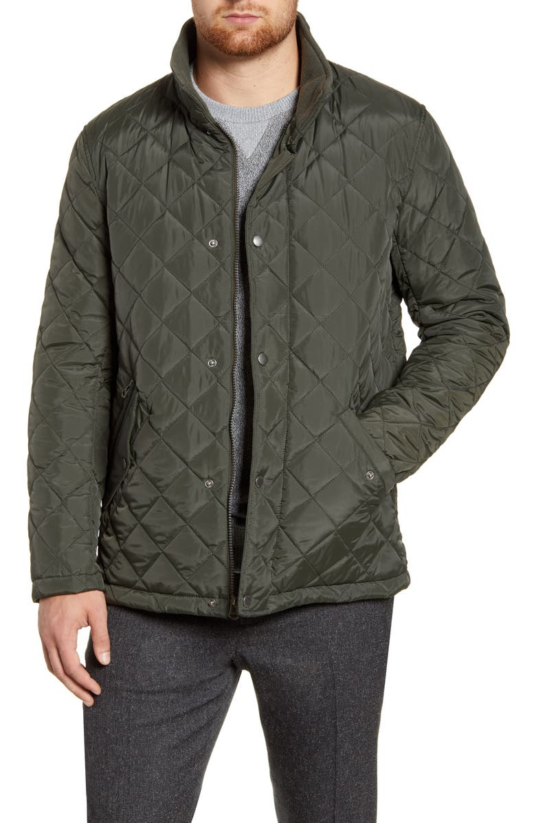 COLE HAAN Diamond Quilted Jacket, Main, color, DARK GREEN
