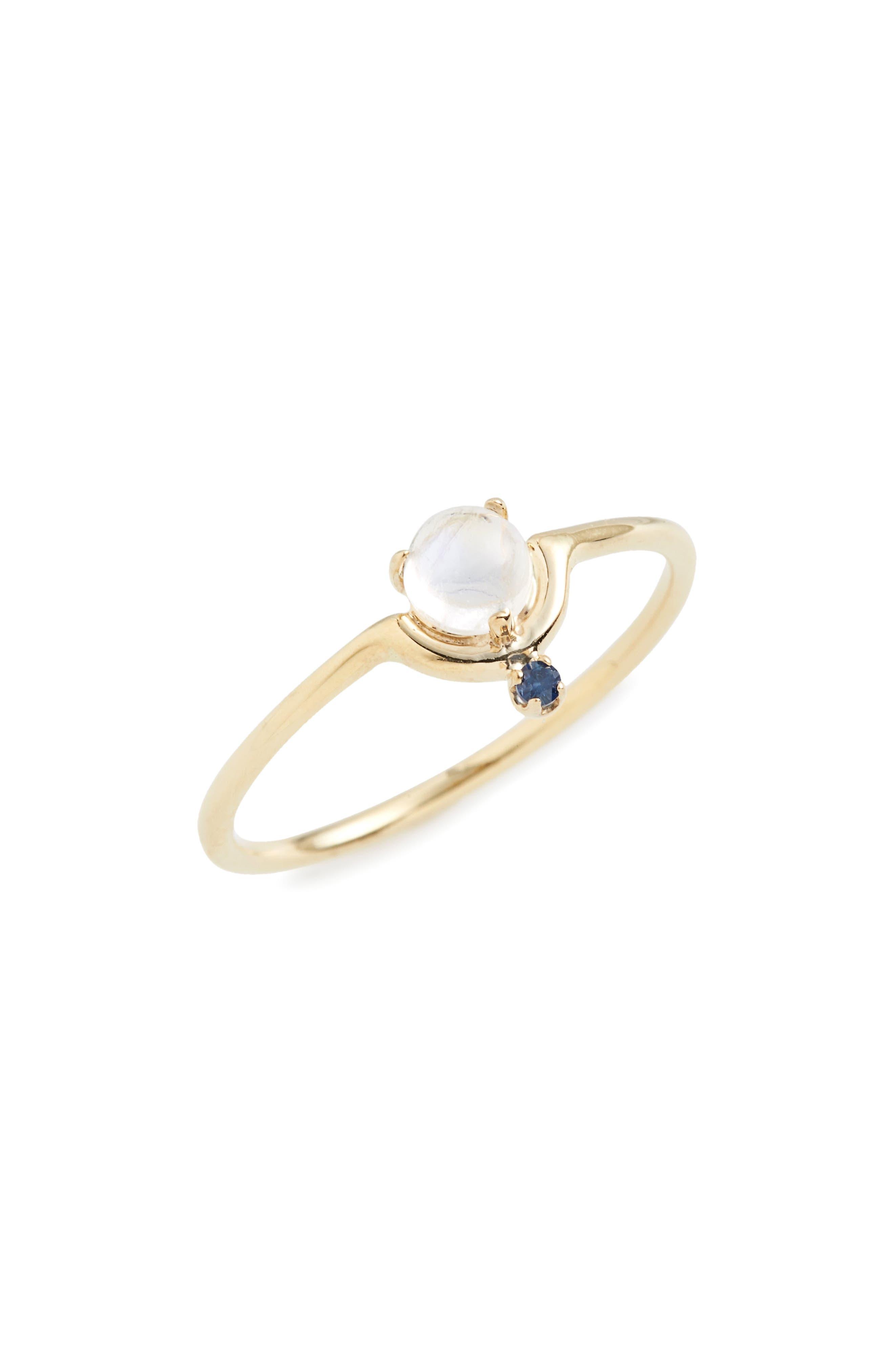 ,                             Nestled Moonstone & Sapphire Ring,                             Main thumbnail 1, color,                             YELLOW GOLD