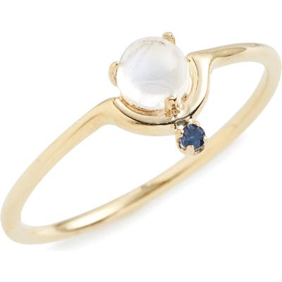 Wwake Nestled Moonstone & Sapphire Ring
