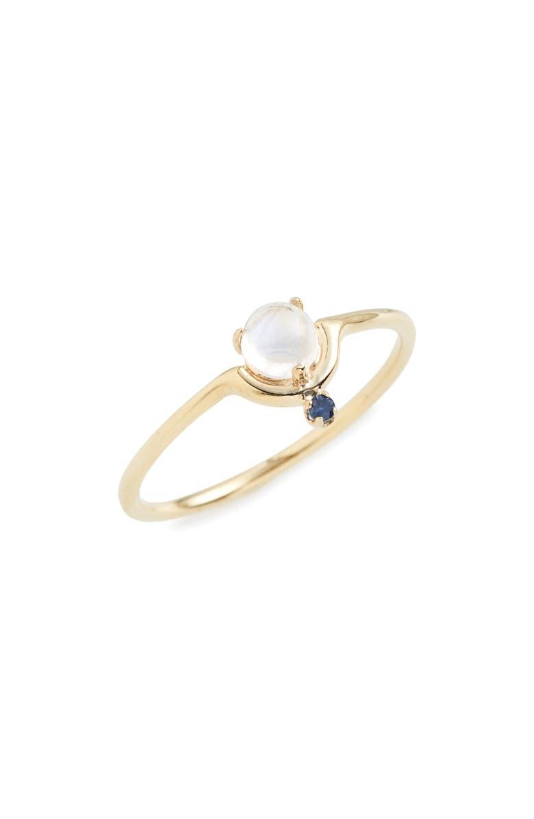 WWAKE Nestled Moonstone & Sapphire Ring, Main, color, YELLOW GOLD