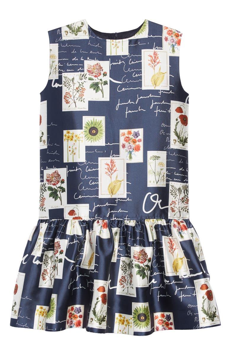 OSCAR DE LA RENTA Botanical Flowers & Scribbles Dress, Main, color, 650